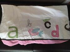 Pottery Barn Kids Baby Pink ABC ANIMAL ALPHABET Crib Bed Skirt
