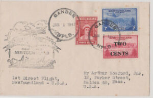 Newfoundland Air Mail Covers (2) 1942 & 1947. Caribou, Prince of Wales