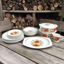 More details for old vintage retro j&g meakin poppy 6 place dinner set plates bowls tureens jug