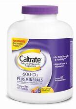 Caltrate Calcium - Vit D Plus Minerals, 600+D, Chewables, Ast, 155 ea (2 pack)