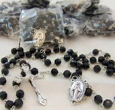 "MRT Rosary BULK Wholesale Lot 10 Seller Student Miraculous Black Facet Bead 18""L"