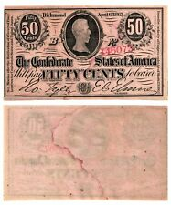 1863 50 Cent Confederate States of America Note Jefferson Davis. T63 485 Unc-