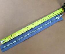 """YKK Metal Closed End Zip Fastener Heavy Duty Chunky Nickel 10"""" (25 cm) Blue"""