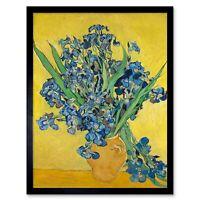 Van Gogh Irises Painting Art Print Framed Poster Wall Decor 12X16 Inch