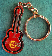 ORLANDO FL RED ACOUSTIC GUITAR KEYCHAIN RING PIVOTING SPINNING Hard Rock Cafe