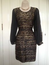 New Black Gold Sheer Long Sleeve Bodycon Party Evening Dress Size 10 BNWT