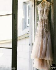 Vintage Blush Appliques Wedding Dress Bridal Gown Custom Size 6 8 10 12 14 16+++