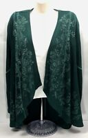 One World Womens Size M Open Front Flowing Cardigan Embellished Evergreen B5-25