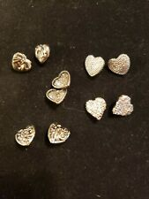 10 Heart silver ( plastic) buttons