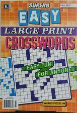 Kappa Superb Easy Large Print Crosswords Fall 2017 Puzzles Fun FREE SHIPPING sb