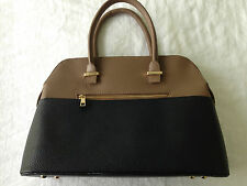 Harve Benard Medium Two Tone Black  Brown Pebble Leather Satchel Purse Handbag