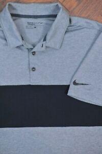 Nike Golf Dri-Fit Performance Polo Shirt Gray Black Men's Large L