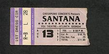 Original 1982 Santana concert ticket stub Fox Theatre Atlanta Black Magic Woman