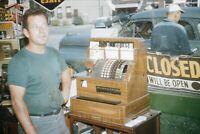 Gas Station 1950s 35mm Slide Kodachrome Vtg Car Service Oil Attendant Closed