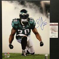 Autographed/Signed BRIAN DAWKINS Smoke Philadelphia Eagles 16x20 Photo JSA COA