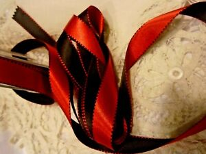 """5/8""""  DOUBLE COLOR  DF SATIN - SADDLE STITCH EDGE RED/BLACK GERMANY BTY"""