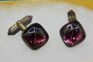 Vintage Art Deco Signed Swank Cuff Links Nice Purple Stones Wow!