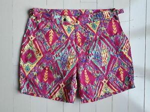 $198 POLO RALPH LAUREN Classic Swim Shorts Magenta / Yellow Multi ( 32 )
