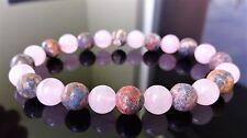 "Genuine Leopard Skin & Rose Quartz bead bracelet MEN WOMEN (Stretch) 8mm - 7.5"""