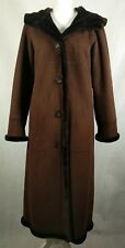Nordstrom Gallery Womens Long Winter Coat Faux Fur Collar Brown XS Button Up