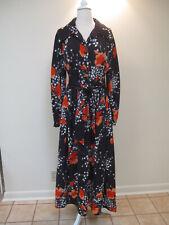 New listing Vtg 1970s Black Floral Print Midi Dress Size 12 14 16 18 Xl Plus