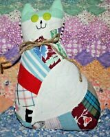 Cat Pillow Kitty Made From Vintage Farmhouse Double Wedding Ring Patchwork Quilt