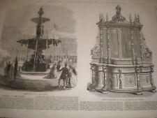 Ireland Dublin Exhibition Bronze Fountain & marble statues 1865 prints ref C