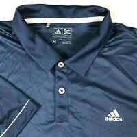 Adidas Blue White Athletic Short Sleeve Rugby Golf Polo Shirt Mens Medium M