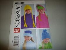 Butterick Pattern 4003 See & Sew 4 styles of Girls hats size S,M,L - UNCUT