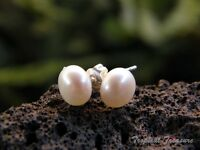 7-8mm WHITE Pearl Stud Earring Set - 925 SOLID Sterling Silver