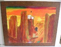 Vintage Western Native American Paniting On Board By Jack J. Swain