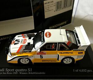 AUDI SPORT QUATTRO S1 RALLY SAN REMO 1985 ROHRL/GEISTDORFER MINICHAMPS 400851205