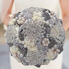 Crystal Pearls Silk Flowers Rose Handmade Wedding Flower Bridal Bouquet Brooch