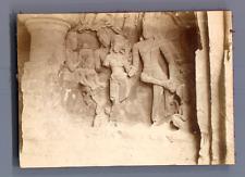 India, Sculptures, Grottes de l'Ile Eléphanta  Vintage citrate print.