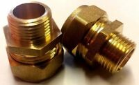Pair of 15mm x 3/8 Inch Compression Brass Male Iron European Tap Thread