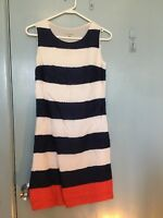 Laura Ashley navy and white stripped dress with red in size 6