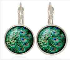 cabochon 16mm Lever Back Earrings Peacock feather Tibet silver Glass