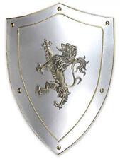 Encadrée Imprimer-médiéval bouclier en argent avec lion CREST (photo art du roi Arthur