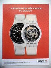 PUBLICITE-ADVERTISING :  SWATCH Sistem 51 (blanche)  2015 Montres