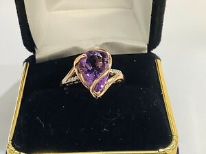 2ct Amethyst,diamonds,10k Rose Gold Freestyle Gemstone Ring,size 7