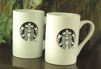 STARBUCKS - WHITE w. BLACK, SIREN/MERMAID, (10 FL. OZ.) COFFEE/TEA CUPS (2)
