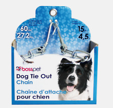 PDQ Boss Pet 15' DOG TIE OUT CHAIN Silver Steel Snap LARGE Size 60 lbs 43715 NEW