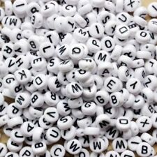 100pcs Mixed white flat round alphabet single letters acrylic beads  4-7mm