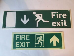 2 x fire exit signs. Firefighting equipment. Fire station