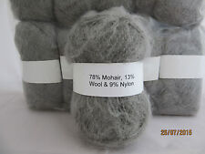 Mohair Wool Yarn 50g Ball Silver Grey 78% Mohair Double Knitting (2NM)