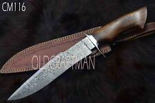 "15.5"" Custom Handmade Damascus Steel Hunting Bowie Knife Rose Wood Handle CM116"