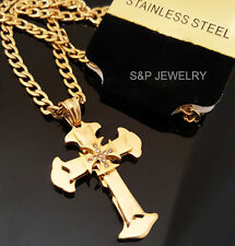 """Gold Stainless Steel Christian CZ Cross Pendant & 24"""" Cuban Chain Necklace 032G"""