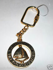 California The Golden State Key Chain Revolving Sail Boat In The Middle - RARE