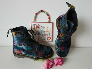 RARE Vintage Velvet England multi shiny 1460 Dr Martens boots UK 5 EU 38 US 7