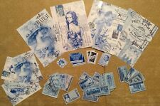 Craft clearout mix, card toppers / paper die cuts, bundle vintage stamps Blue